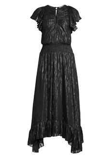 Rebecca Taylor Metallic Ruffle Short-Sleeve Safari Dress