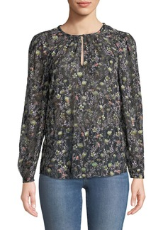 Rebecca Taylor Midnight Bloom Floral-Print Blouse