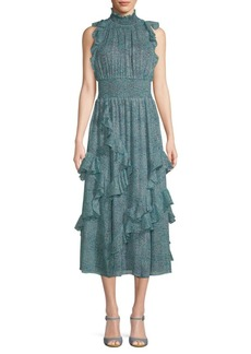 Rebecca Taylor Minnie Ruffled Floral Chiffon Dress