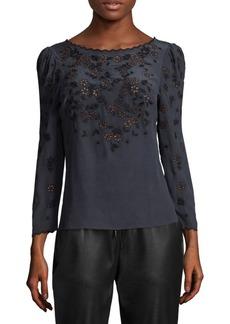 Miranda Embroidered Silk Top