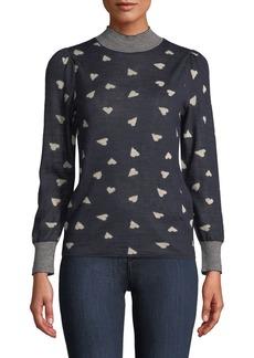 Rebecca Taylor Mock-Neck Heart-Jacquard Pullover Sweater w/ Striped Neck & Cuffs