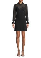 Rebecca Taylor Mock-Neck Long-Sleeve A-Line Dress w/ Lace & Ruffle Details