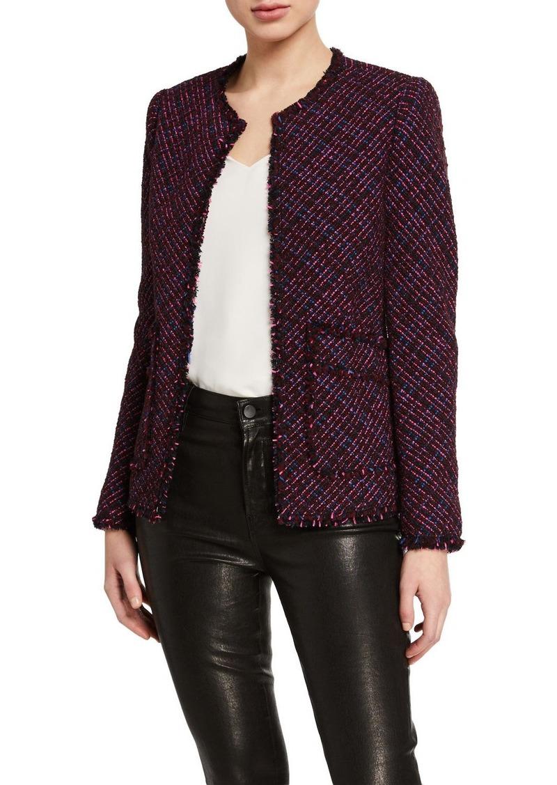 Rebecca Taylor Multi-Tweed Fringe Jacket with Fringe