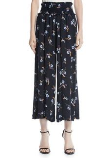 Rebecca Taylor Natalie Smocked-Waist Floral-Print Cropped Pants