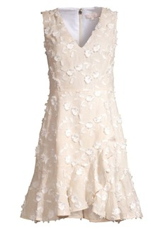 Rebecca Taylor Nicola Floral Appliqué Linen Dress