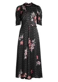 Rebecca Taylor Noha Puff Sleeve Floral Midi Dress