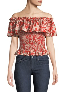 Rebecca Taylor Off-The-Shoulder Cherry-Blossom Silk Top