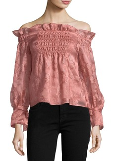 Rebecca Taylor Off-the-Shoulder Organza Top