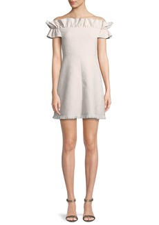 Rebecca Taylor Off-the-Shoulder Slub Suiting Dress