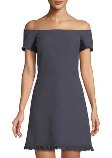 Rebecca Taylor Off-The-Shoulder Slub-Suiting Dress