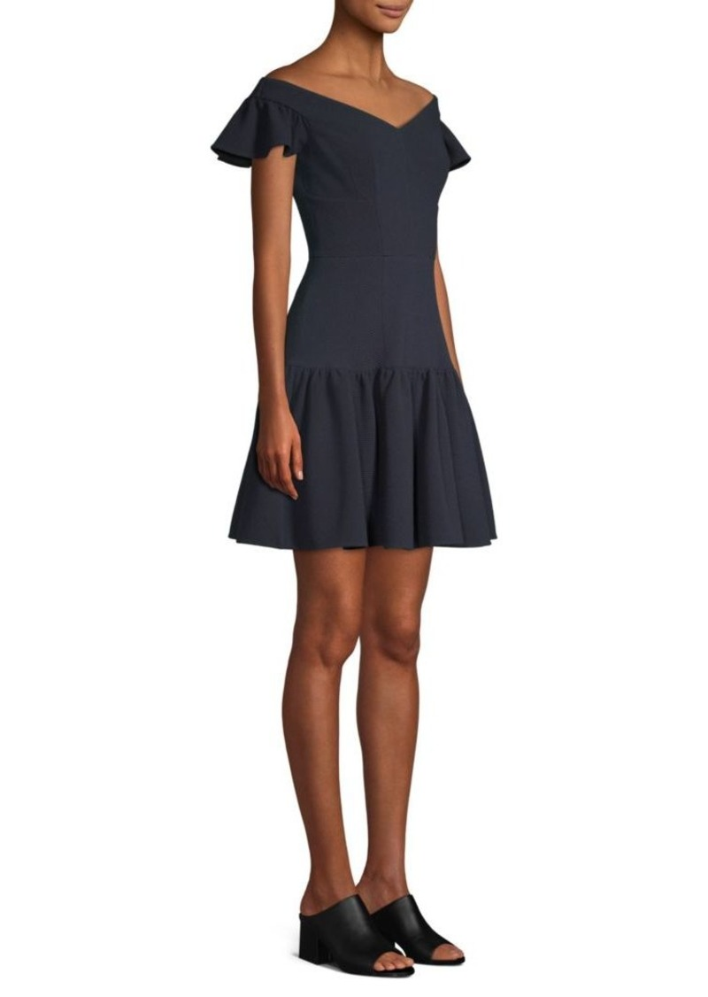 Rebecca Taylor Off-The-Shoulder Mini Flare Dress