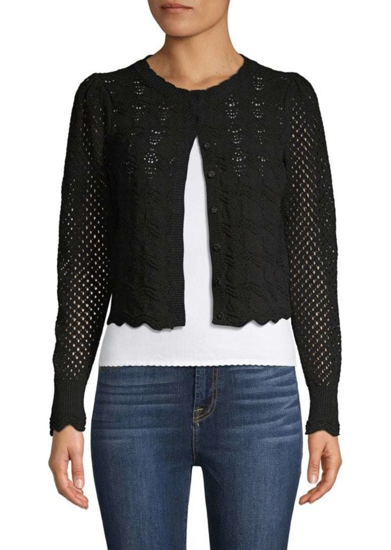 Rebecca Taylor Open-Knit Cotton-Blend Cropped Cardigan