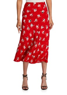 Rebecca Taylor Paintbrush Printed Silk Midi Skirt