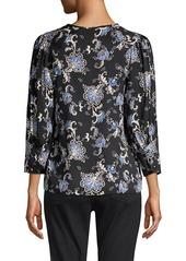 Rebecca Taylor Paisley Silk-Blend Long-Sleeve Blouse