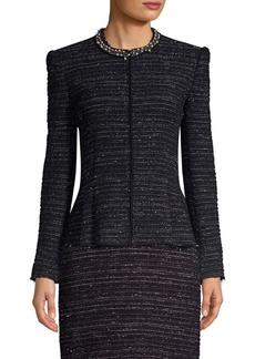 Rebecca Taylor Pearl Embellished Tweed Jacket