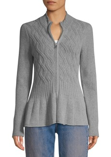 Rebecca Taylor Peplum Cabled Cardigan