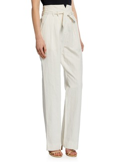 Rebecca Taylor Pinstripe Linen Belted Pants