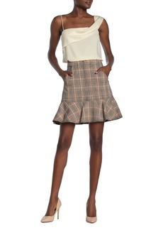 Rebecca Taylor Plaid Ruffled Woven Mini Skirt