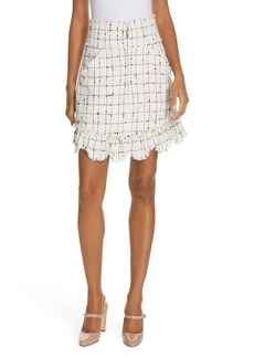 Rebecca Taylor Plaid Tweed Front Zip Mini Skirt