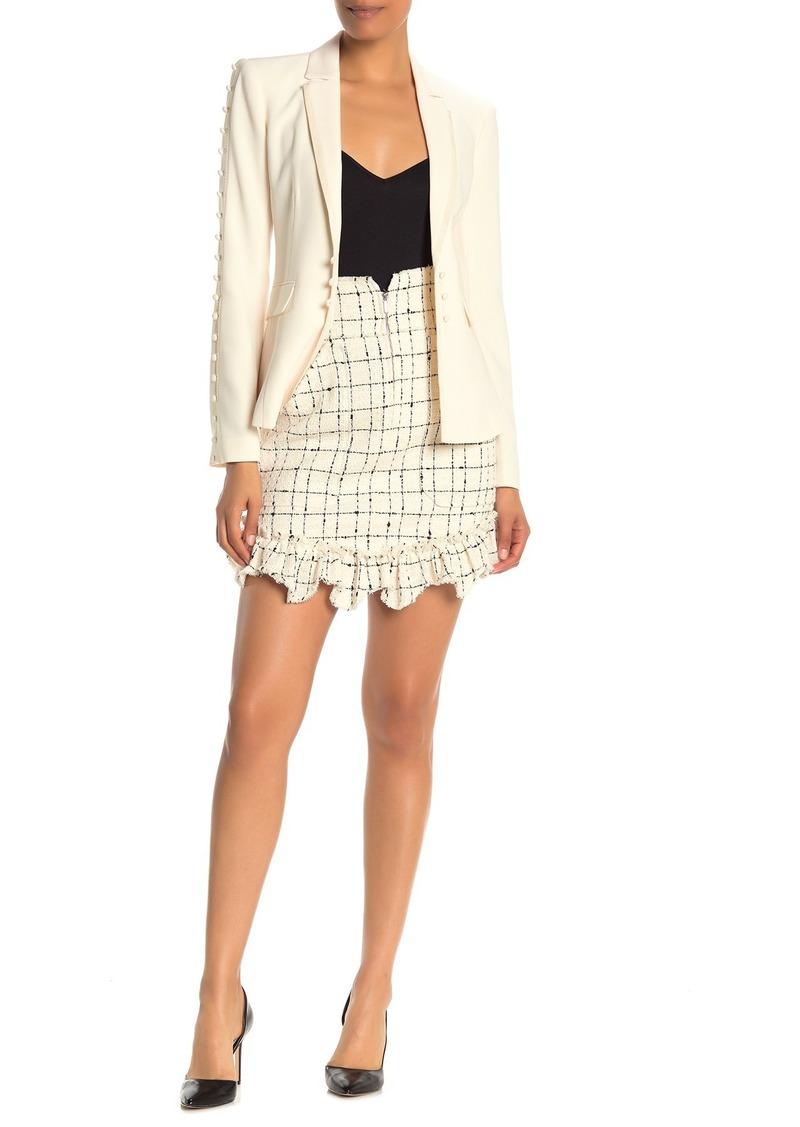 Rebecca Taylor Plaid Tweed Front Zip Mini Skirt