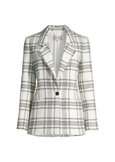 Rebecca Taylor Tailored Windowpane Plaid Tweed Jacket