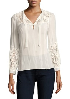 Rebecca Taylor Pleated Lace Chiffon Top