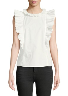 Rebecca Taylor Pleated Ruffle Sleeveless Blouse