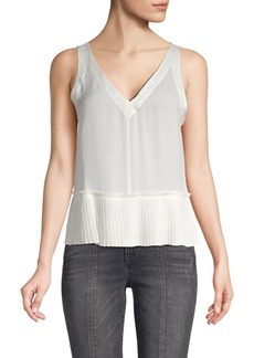 Rebecca Taylor Pleated Silk Tank Top