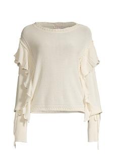 Rebecca Taylor Pointelle Fringe Sweatshirt