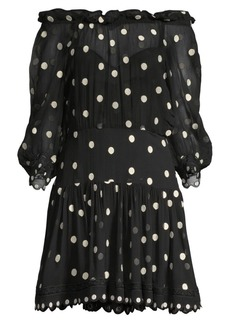 Rebecca Taylor Embroidered Polka Dot Dress
