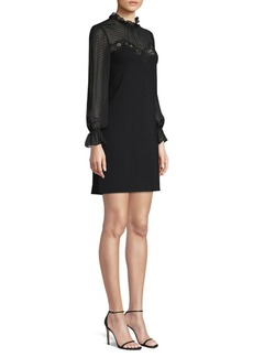 Rebecca Taylor Polka-Dot Sleeve High-Neck Sheath Dress