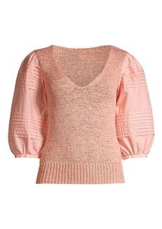 Rebecca Taylor Poplin Sleeve Sweater