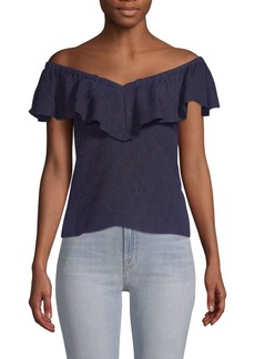 Rebecca Taylor Portrait-Neck Rose Top