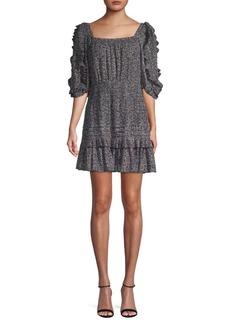 Rebecca Taylor Printed Ruffled Mini Dress