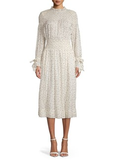Rebecca Taylor Printed Silk & Cotton Blend Midi Dress