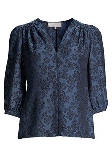 Rebecca Taylor Puff-Sleeve Floral Jacquard Top