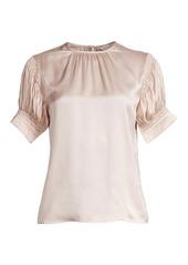 Rebecca Taylor Puff-Sleeve Silk Charmeuse Blouse
