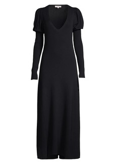 Rebecca Taylor Puff-Sleeve V-Neck Maxi Dress