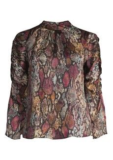Rebecca Taylor Met Python Print Silk Blend Blouse