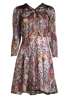 Rebecca Taylor Met Python Print Silk Mini Dress