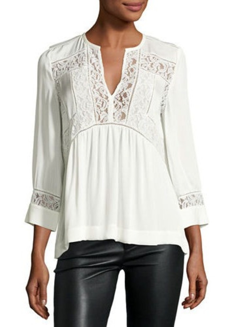 Rebecca Taylor 3/4-Sleeve Lace-Inset Blouse