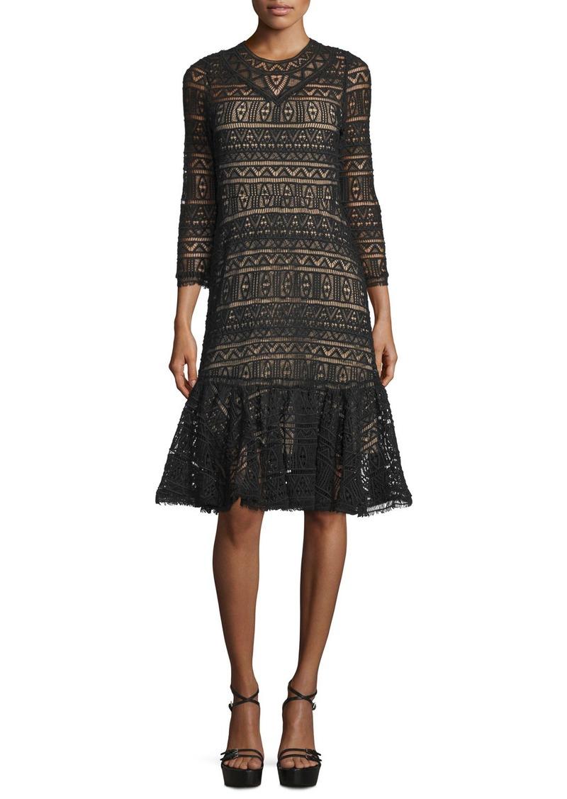 Rebecca Taylor 3/4-Sleeve Lace Sheath Dress