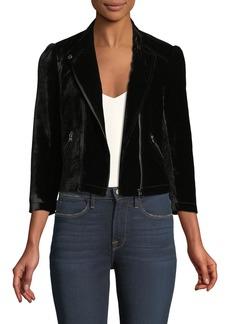 Rebecca Taylor 3/4-Sleeve Short Velvet Moto Jacket