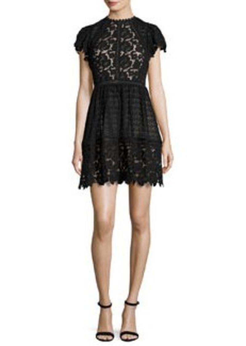 Rebecca Taylor Cap-Sleeve Mixed-Lace Dress