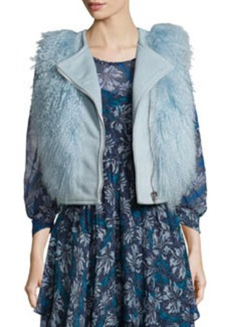 Rebecca Taylor Asymmetric-Zip Fur-Trim Vest