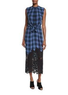 Rebecca Taylor Lace-Hem Plaid Sleeveless Dress