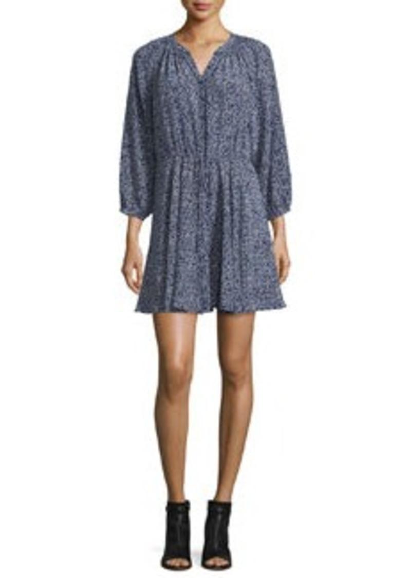 Rebecca Taylor 3/4-Sleeve Floral Silk Woodblock Dress