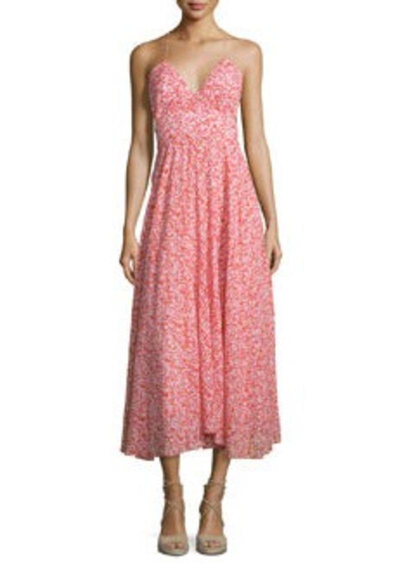 Rebecca Taylor Sleeveless Floral Silk Midi Dress