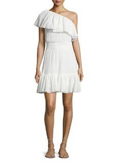 Rebecca Taylor One-Shoulder Tiered Gauze Dress