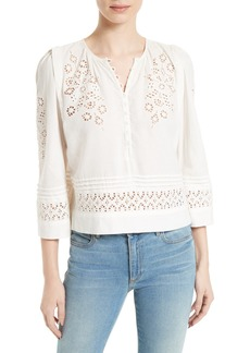 Rebecca Taylor Adeline Eyelet Embroidered Top